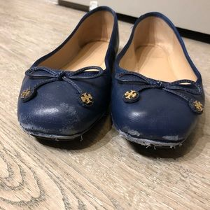 6fdf8a84f153a7 Tory Burch Shoes - SALE Tory Burch Navy Leather Flats